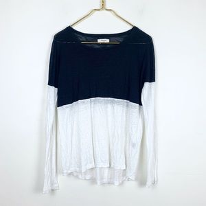 Madewell Linen Color-Block Long Sleeve Top